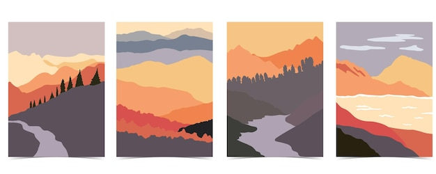 Collection of nature landscape background set with mountain,lake,sky.that use for vertical digital and printable a4 a5 size