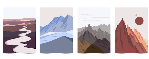 Collection of nature landscape background set with mountainlakesky