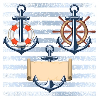Collection of nautical designed elements