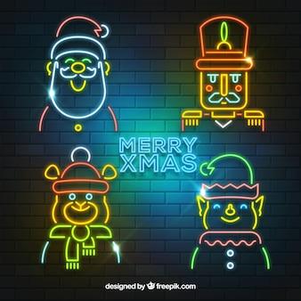 Collezione di personaggi natalizi al neon