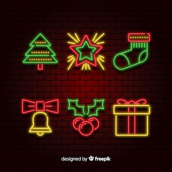 Collection of neon christmas element