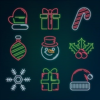 Collection of neon christmas elements