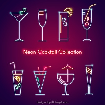 Collection of neon cocktail