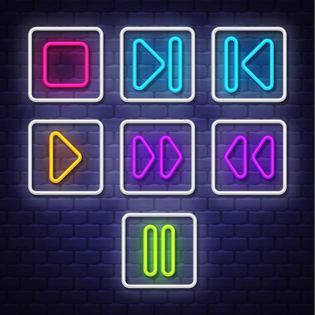 Collection neon music symbols