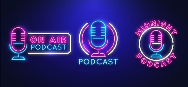 Collection of neon podcast logos template