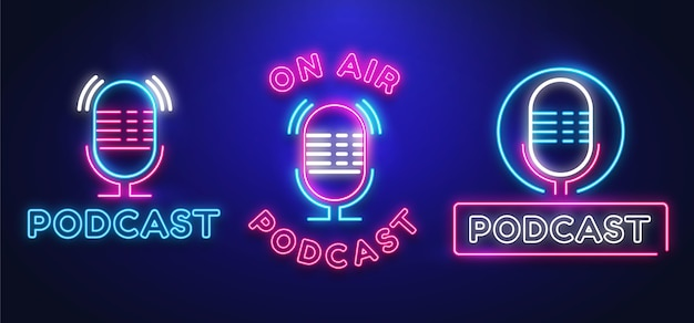 Collection of neon podcast logos