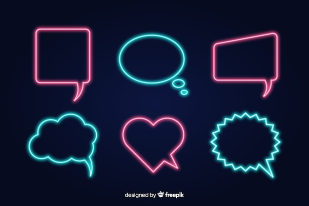 Collection of neon speech bubbles