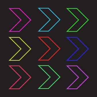 Raccolta di simboli di testa di freccia in stile neon