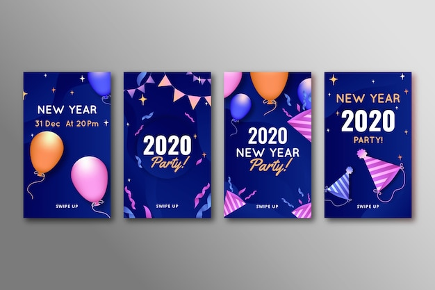Collection of new year 2020 party instagram story