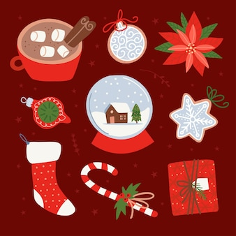 Collection of new year decorations christmas  glowing redtoned gifts christmas sock cocoa cup ginger...