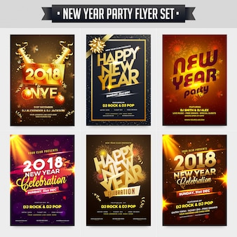 Collection of new year party celebration poster, banner or flyer design.