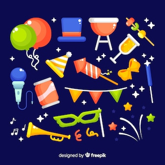 Collection of new year party element in flat design