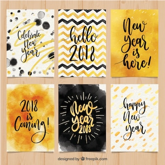 Collection of new year postcards in watercolour
