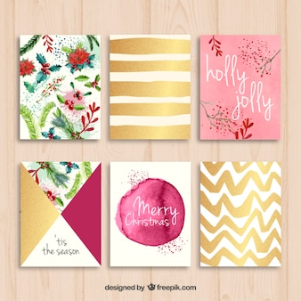 Collection of nice christmas cards Free Vector