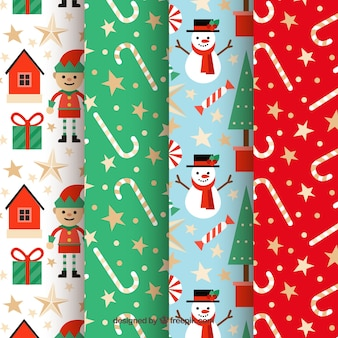 Collection of nice christmas patterns Free Vector