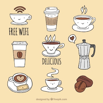Collection of nice coffee shop elements