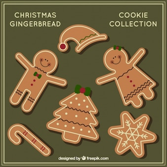 Collection of nice and delicious christmas cookies Free Vector
