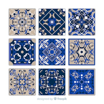 Collection of nine blue tiles