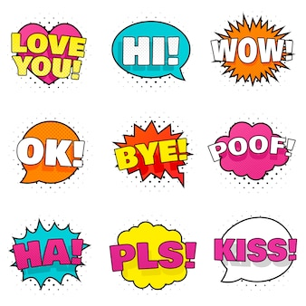 Collection of nine bright colorful stickers.