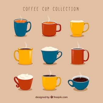 Collection of nine colorful coffee cups