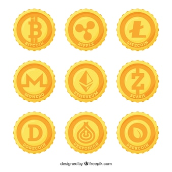 Collection of nine cryptocurrency coins