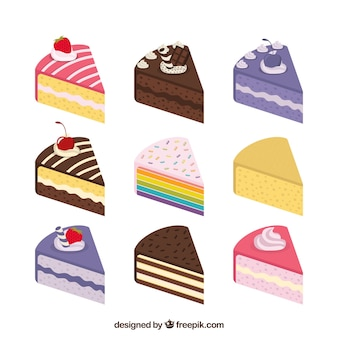 Collection of nine different cakes