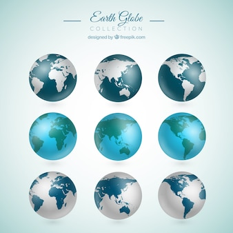 Collection of nine realistic earth globes