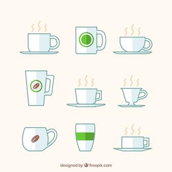 Collezione di nove tazze da caffè bianco