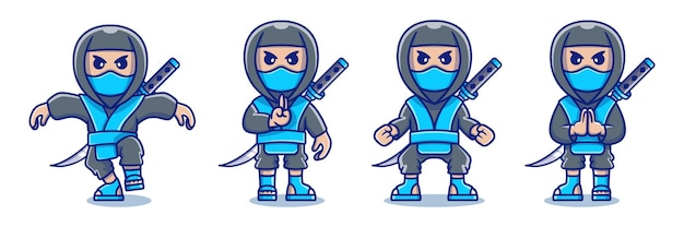 Collection of ninja characters with various cute poses
