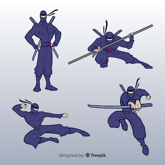 Collection of ninja warrior in different posses