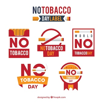Collection of no tobacco day stickers