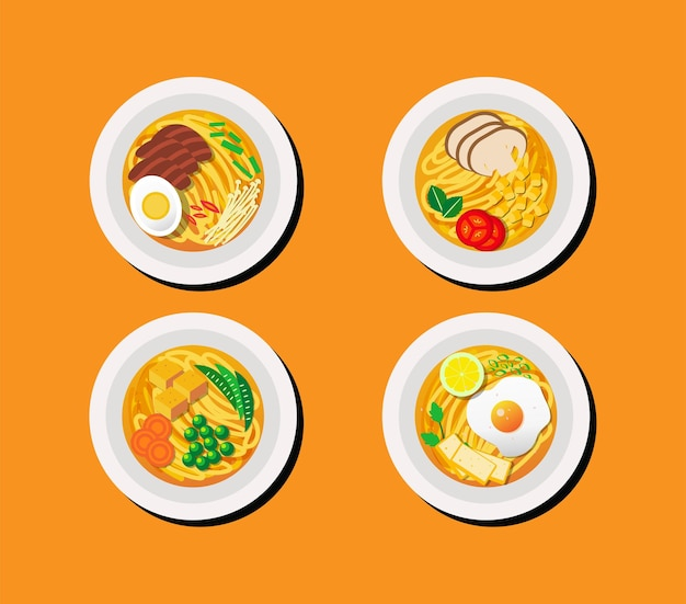 Collection of noodles illustration in top view with different toppings