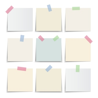 Collection of note paper, sticky note pastel colors. illustration