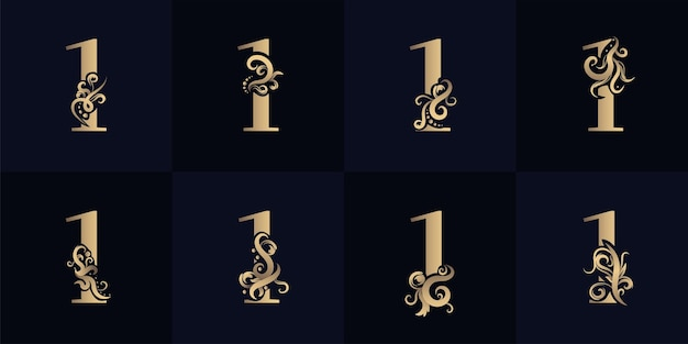Collection number 1 logo with luxury ornament design
