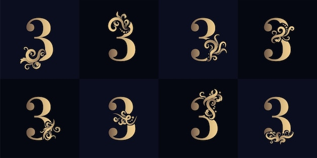 Collection number 3 logo with luxury ornament design