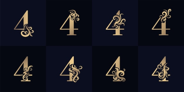 Collection number 4 logo with luxury ornament design