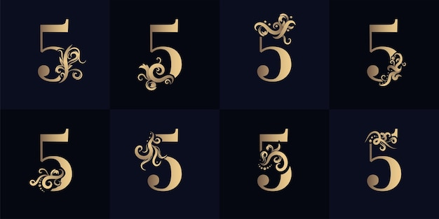 Collection number 5 logo with luxury ornament design