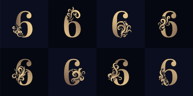 Collection number 6 logo with luxury ornament design