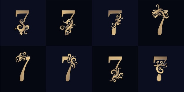 Collection number 7 logo with luxury ornament design