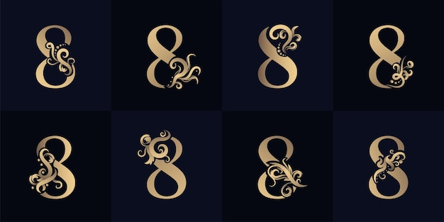 Collection number 8 logo with luxury ornament design