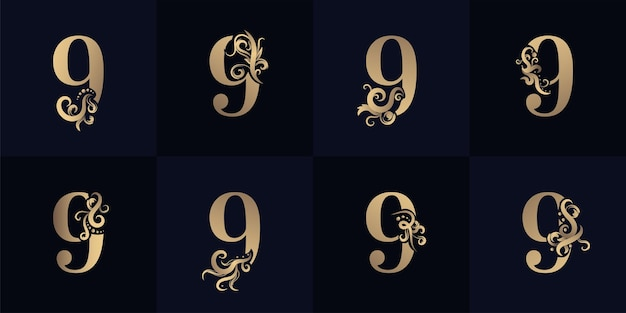 Collection number 9 logo with luxury ornament design