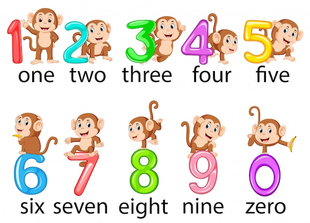 The collection of the number with the monkey beside