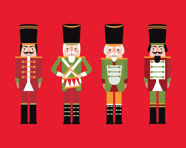 Collection of nutcrackers on red background