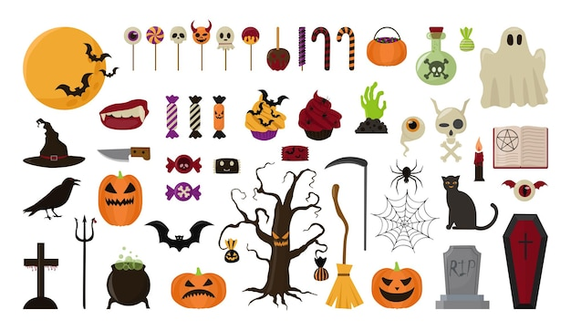 Collection of objects for the celebration of halloween