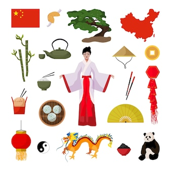 Collection of objects of china