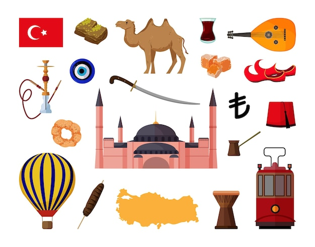 Collection of objects of turkey