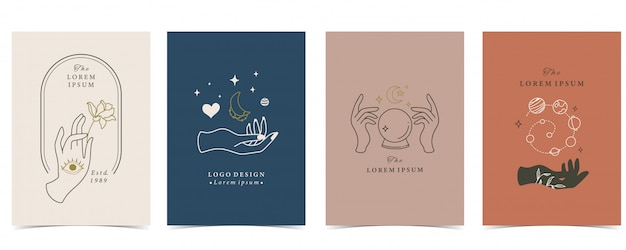 Collection of occult background set with hand, planet, heart and moon.