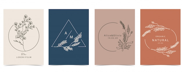 Collection of occult background set with lavender,flower.