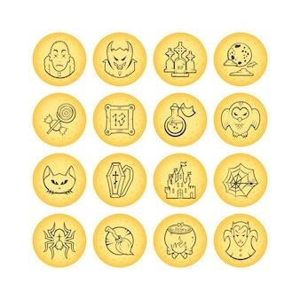 Собрание 16 значков хеллоуина эскиза круга. иллюстрации.