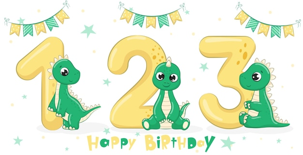 3匹のかわいい緑の恐竜のコレクション「お誕生日おめでとう、1、2、3年」。漫画のベクトルイラスト。